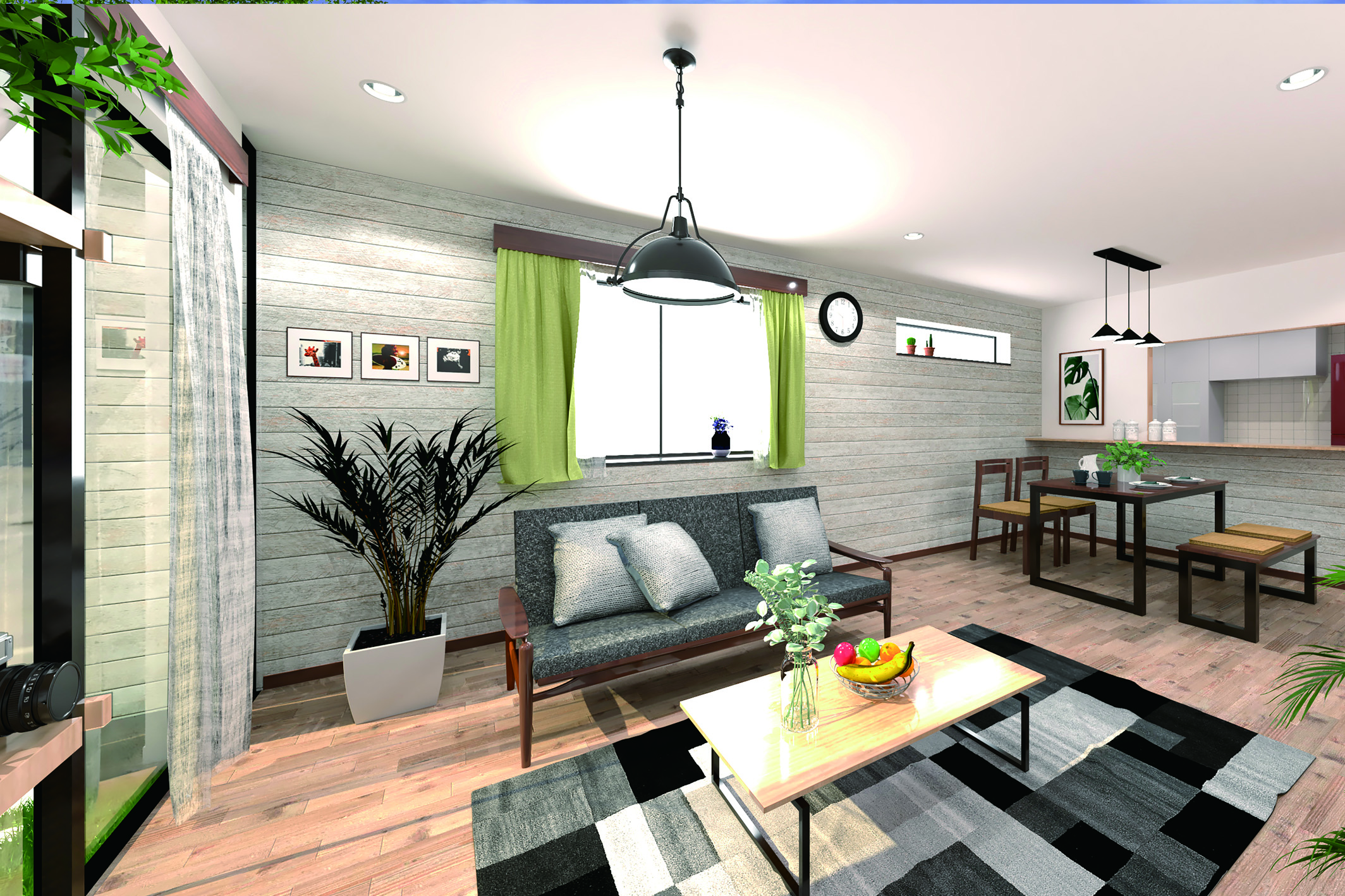 外観デザインで使用している外壁材を室内の壁に取り入れる事によって内と外が繋がる寛ぎのスペースを生み出します。